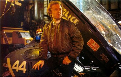 Ridley with spinner on the Blade Runner set